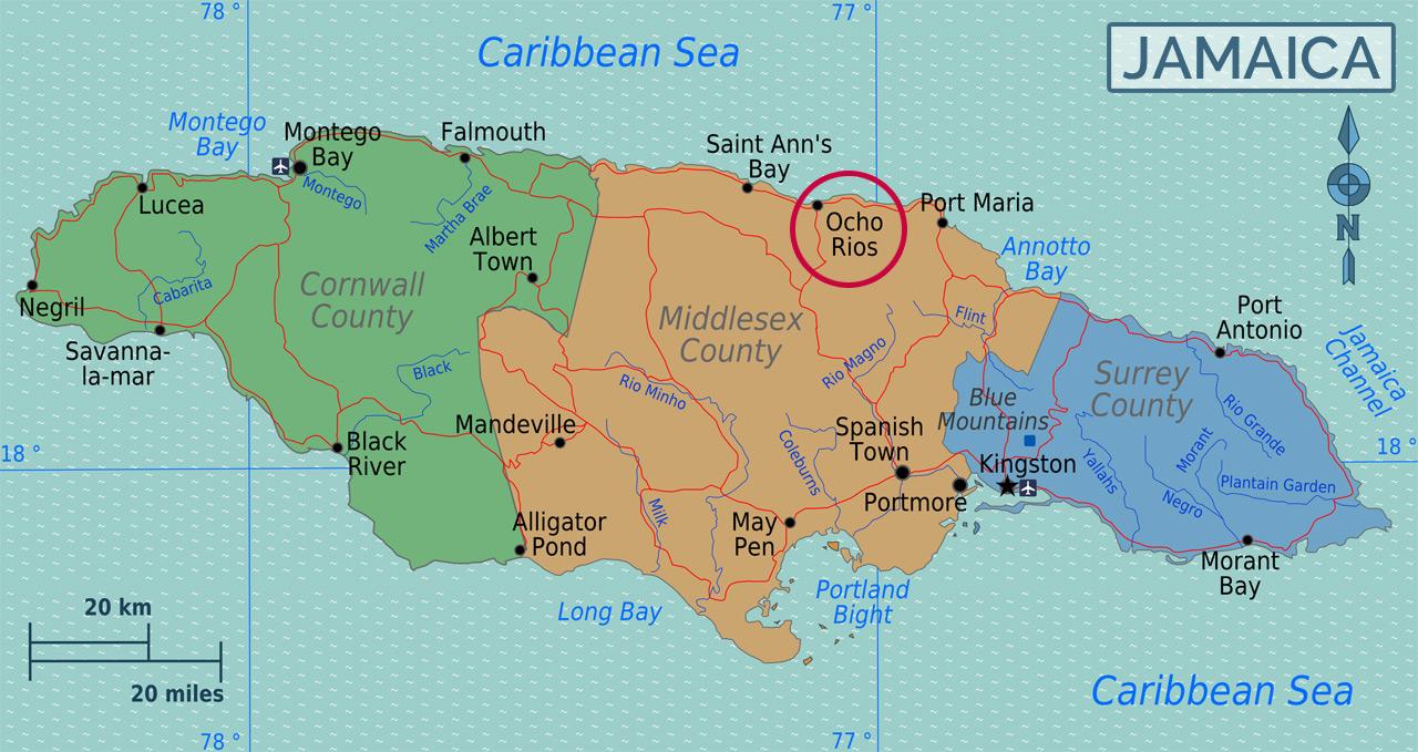 Ocho Rios localiza-se na costa norte da Jamaica, entre Montego Bay e Port Antonio  |  foto: reprodução internet