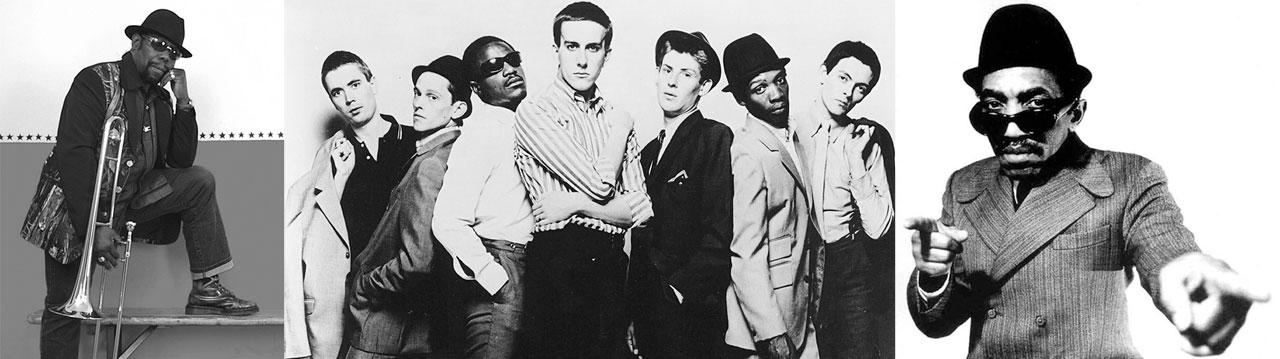 Da esquerda para direita, três ícones do ska: Roy Ellis, The Specials e Laurel Aitken. | foto: reprodução internet
