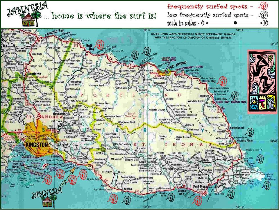 O mapa da Jamnesia mostra os picos do surf ao leste da ilha  |  foto: reprodução internet