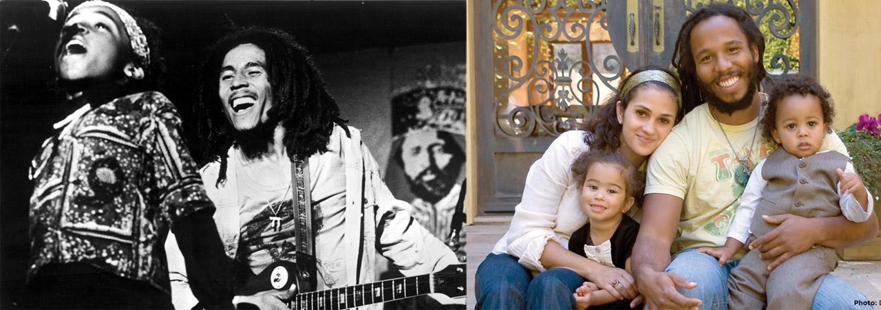 Ziggy em dois momentos de sua vida: quando criança, cantando com o pai, Bob Marley, e adulto, com sua família.  |  fotos: reprodução internet