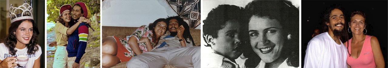 Ontem e hoje: a ex-Miss Mundo Cindy Breakspeare, ao lado de Bob Marley e do filho Damian. |  fotos: reprodução internet