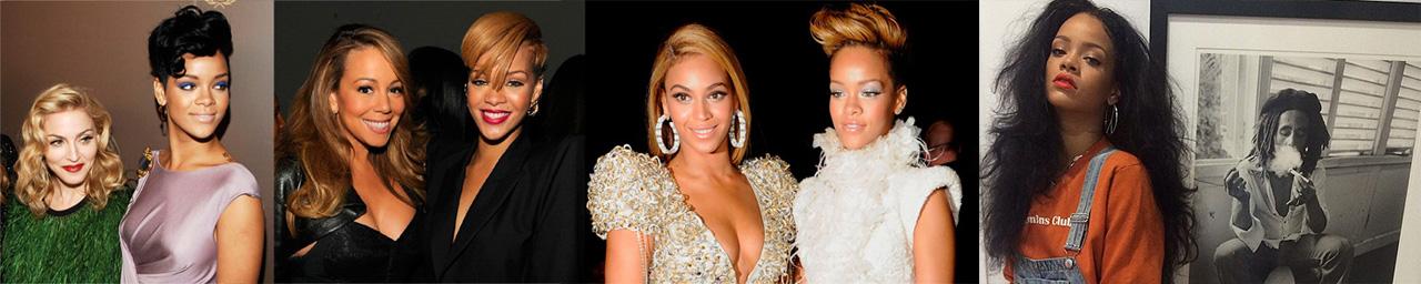 Com Madonna, Mariah Carey, Beyoncé e Bob Marley. Rihanna é única, mas como toda estrela pop, ela tem as suas referências. | foto: reprodução internet