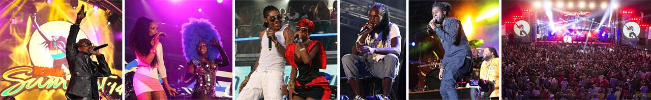 Beenie Man, Mya & Deejay Spice, Vybz Kartel & Gaza Slim, Mavado e Chronixx são artistas que já se apresentaram no Reggae Sumfest.  |  fotos: reprodução internet