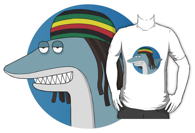 Sucesso do Reggae Shark é tanto que já há até camisetas do personagem à venda.  |  foto: reprodução internet