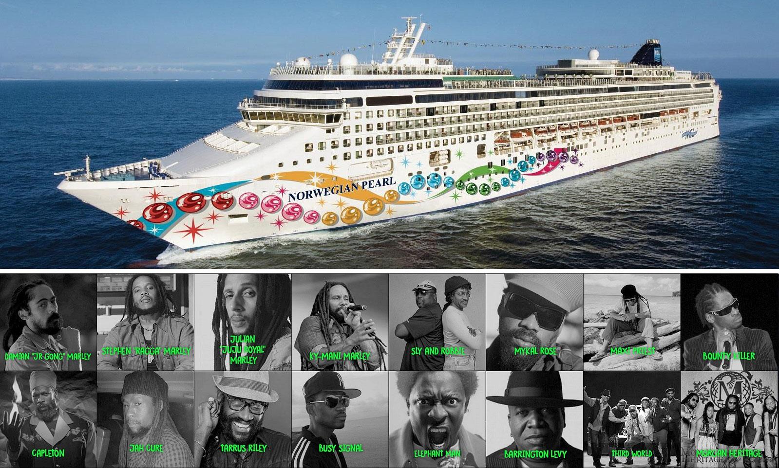 O navio utilizado no cruzeiro e alguns dos nomes já confirmados para a próxima edição. | fotos: reprodução internet