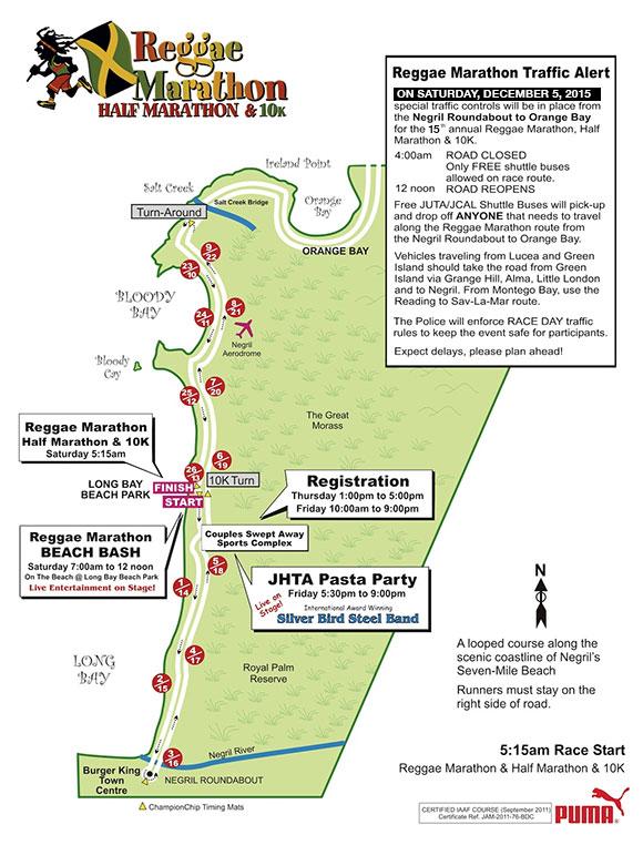 Mapa da 15ª Reggae Marathon  |  foto; divulgação Reggae Marathon