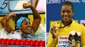 Alia Atkinson em Doha 2014: alegria pelo recorde mundial e orgulho pela medalha de ouro.  |  fotos: reprodução internet