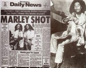 Jornal destaca o atentado sofrido por Bob Marley.  |  fotos: reprodução internet