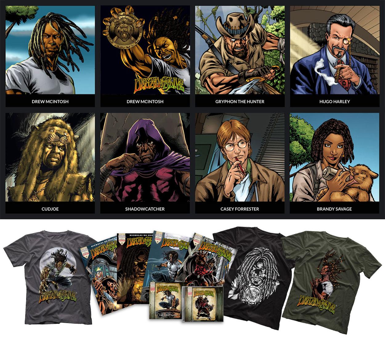 Os personagens principais de Dread & Alive e alguns dos produtos comercializados pela empresa de Nicholas da Silva.  |  fotos: reprodução internet